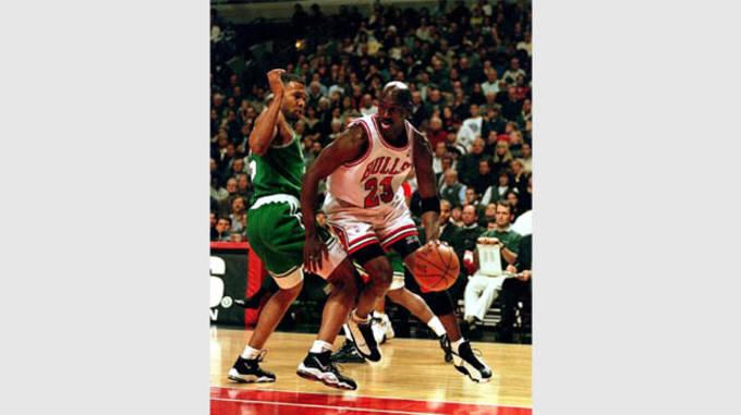 Michael Jordan in the White/Black/True-Red Air Jordan 13