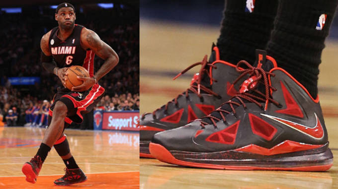 LeBron X Black and University Red