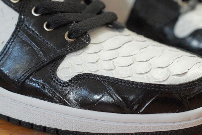 60e281dcd20537 Air Jordan 1 White Python Black Croc Gold Leather by JBF Customs Toe