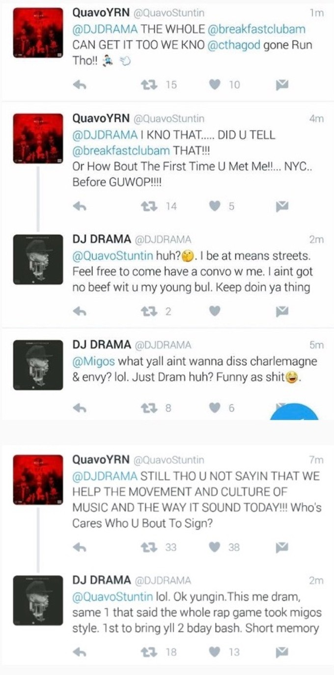 Screen grab of exchange between Quavo and DJ Drama on Twitter.