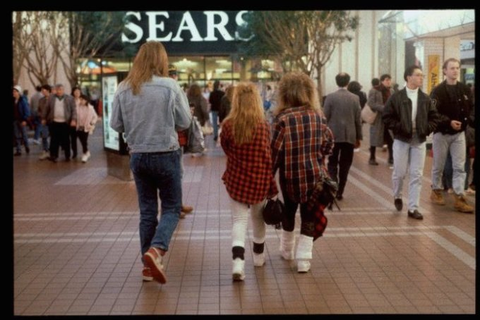 Shoppers at a mall in the 80s
