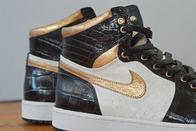 828e5209907a19 Air Jordan 1 White Python Black Croc Gold Leather by JBF Customs Quarter