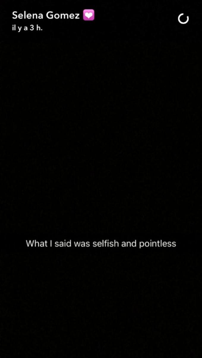 Selena Gomez's apology to Justin Bieber.