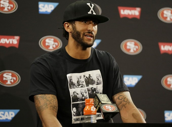 Colin Kaepernick wears Malcolm X and Fidel Castro t-shirt at press conference in August
