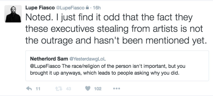 This is Lupe Fiasco tweeting about
