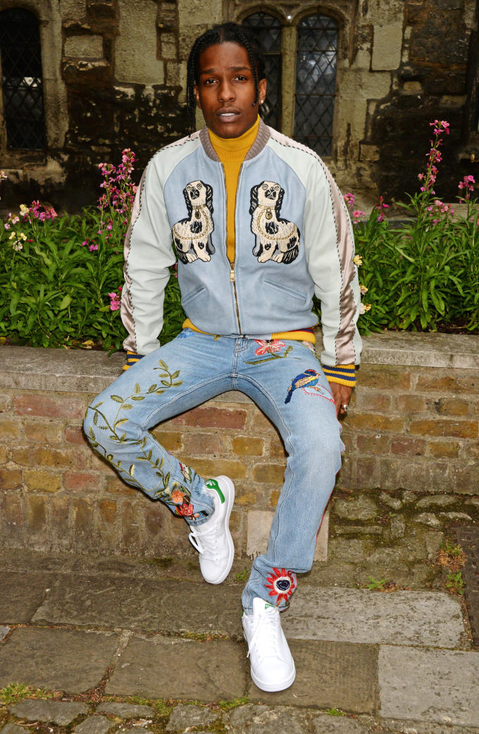 79f06a924 A$AP Rocky's full Gucci look for the label's Cruise collection. Image via  David M. Benett / Getty Images