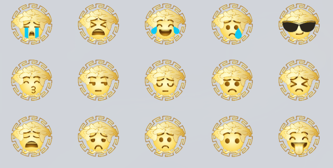 af3a97e5 The new emoticons feature a take on Versace's logo, which replaces the Medusa  head with popular emojis like the kissing and dizzy face.