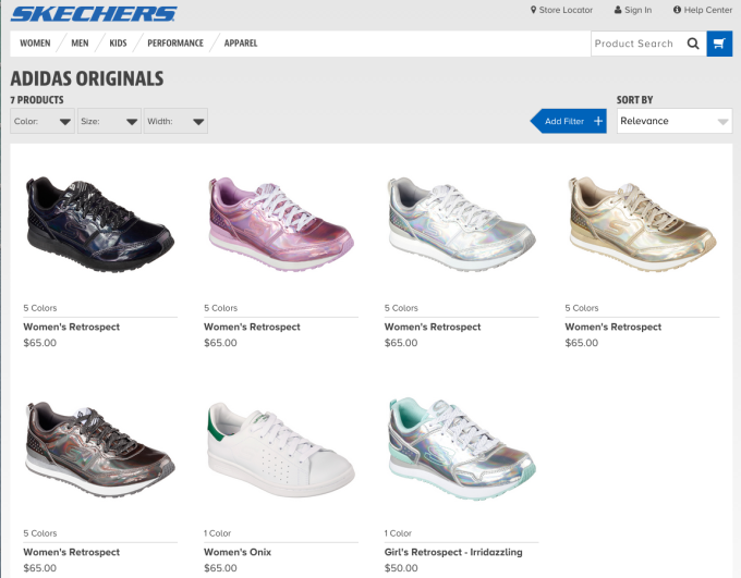 d0ba4d6936 Here are a few screenshots from Skechers' website, which only proves adidas'  point.