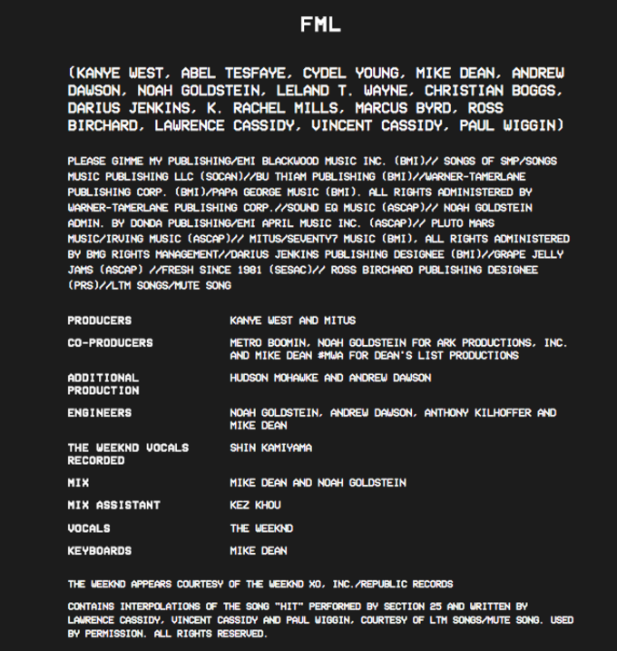 Kanye West Reveals the Full Album Credits for 'The Life of