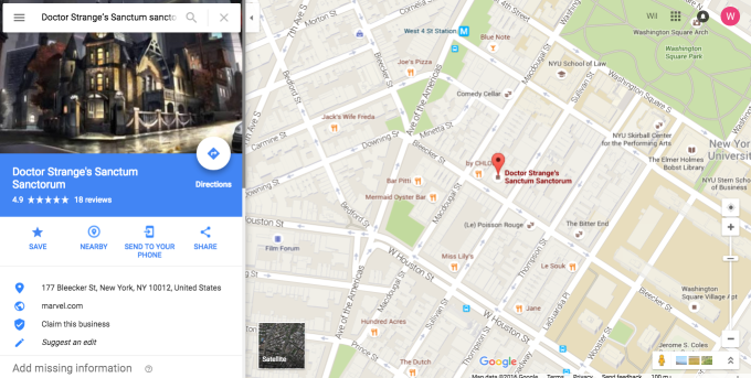 Doctor Strange's New York Sanctum Is Now on Google Maps | Complex on