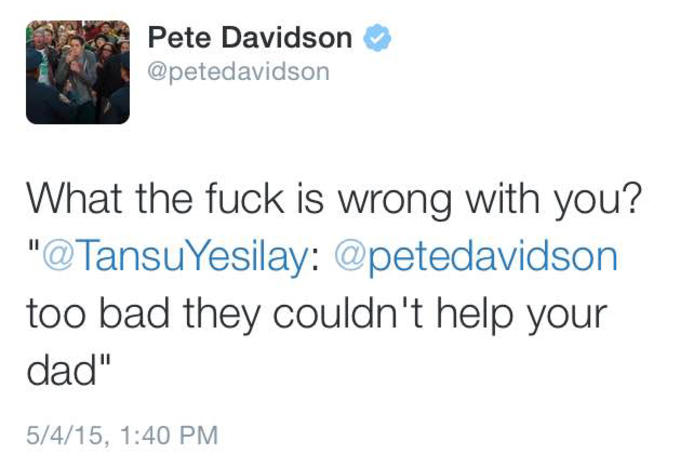 a0a82e706 Pete Davidson Destroys a Twitter User For Joking About His Dead ...