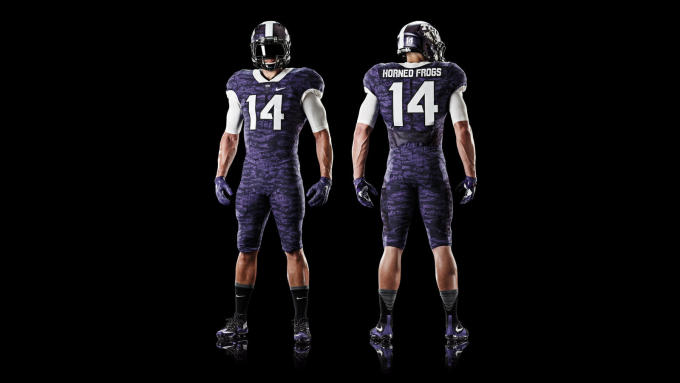 87b84db82 TCU is latest team to get perhaps a tad bit too creative with its new  uniforms. Playing off the scaly skin of its mascot, the horned frog, Nike  teamed up ...