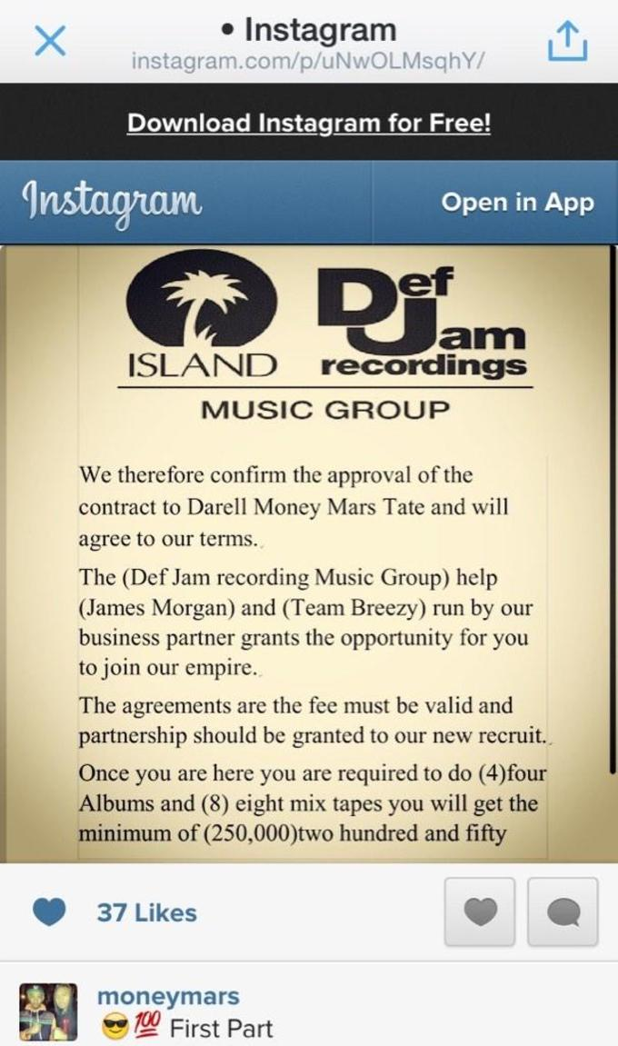 Rapper Claims He Signed To Def Jam Records, Posts