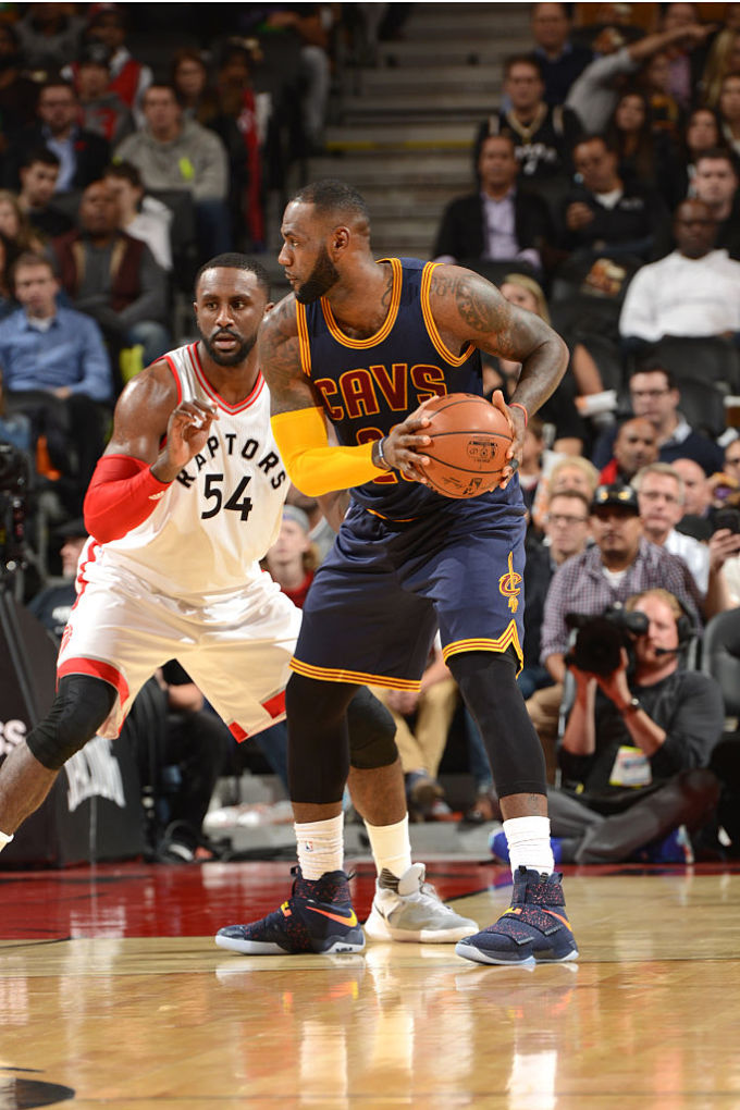 more photos c2c9f dae50 LeBron James Wearing a Cavs Navy Nike LeBron Soldier 10 PE ...