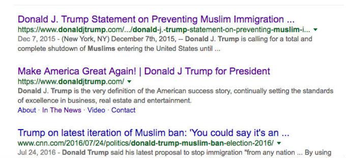 Donald Trump Muslim ban screenshot