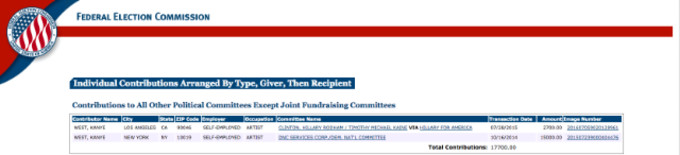 This is a screenshot of Kanye West's donation to Hillary Clinton.