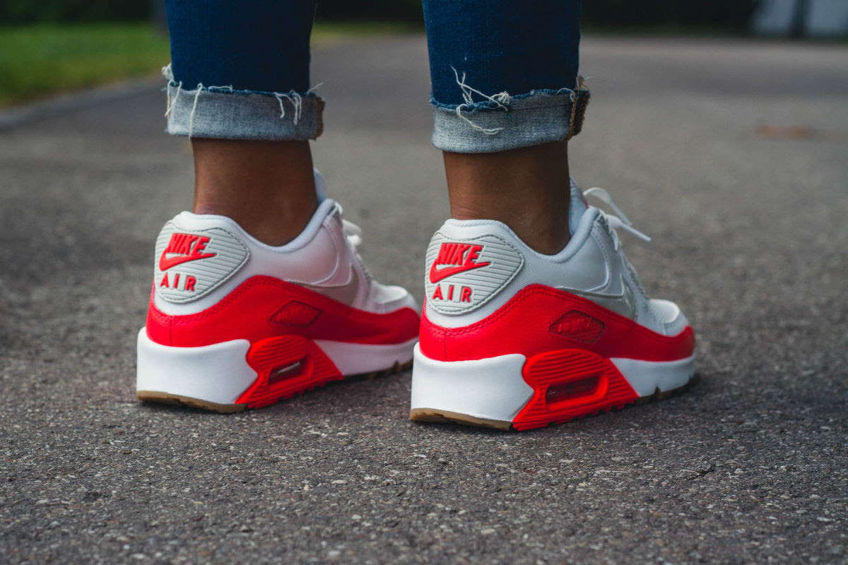 Women's Nike Air Max 90 Bright Crimson On Foot | Sole Collector