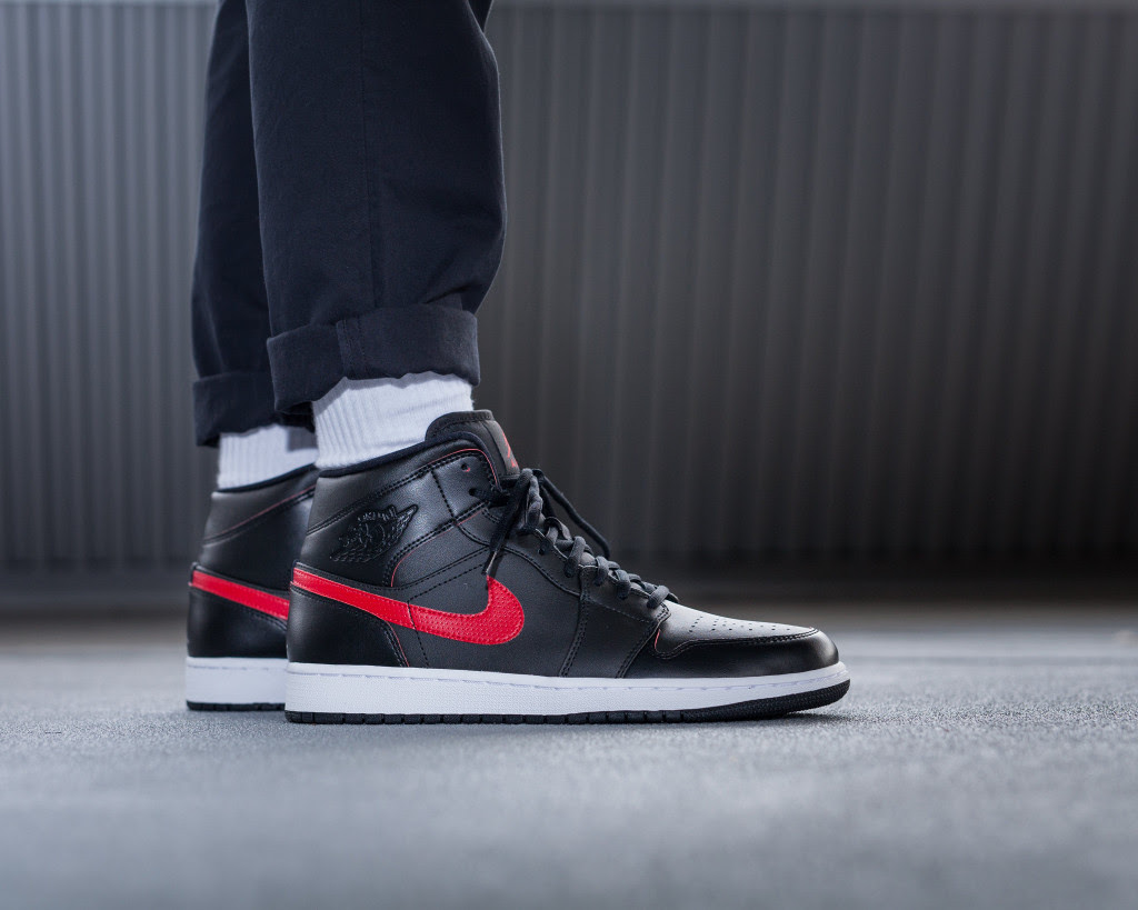 brand new afa25 2a598 Air Jordan 1 Mid Black Red 554724-009 | Sole Collector