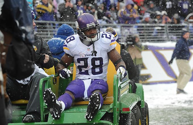 Running back Adrian Peterson #28 of the Minnesota Vikings