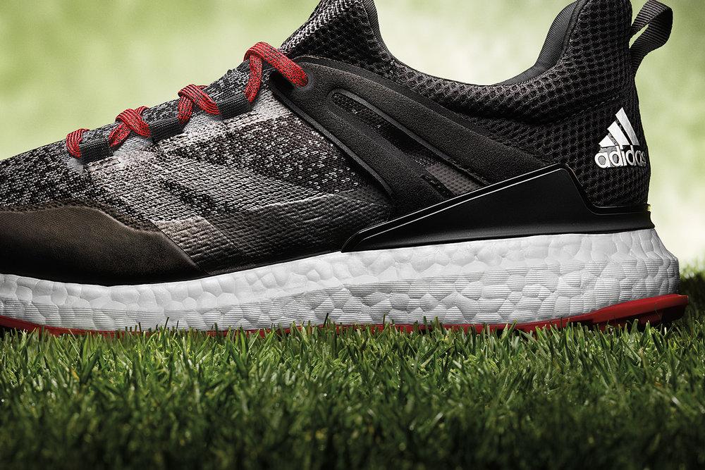 Adidas Crossknit Boost Golf Shoe Black Red Heel