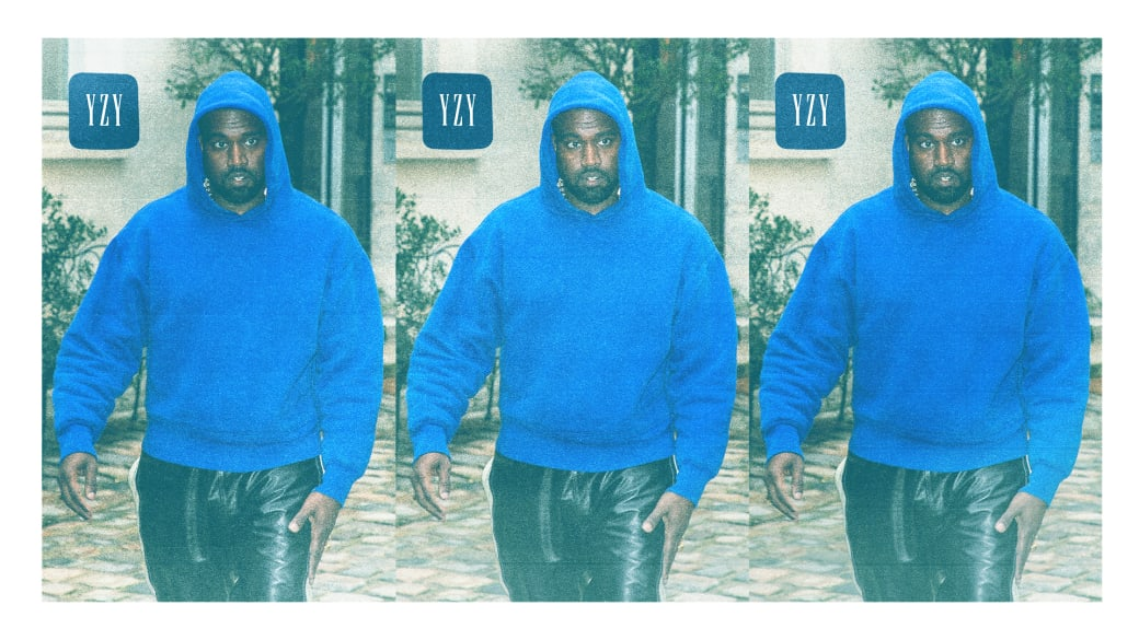 Kanye West Wearing a Yeezy Gap Perfect Hoodie