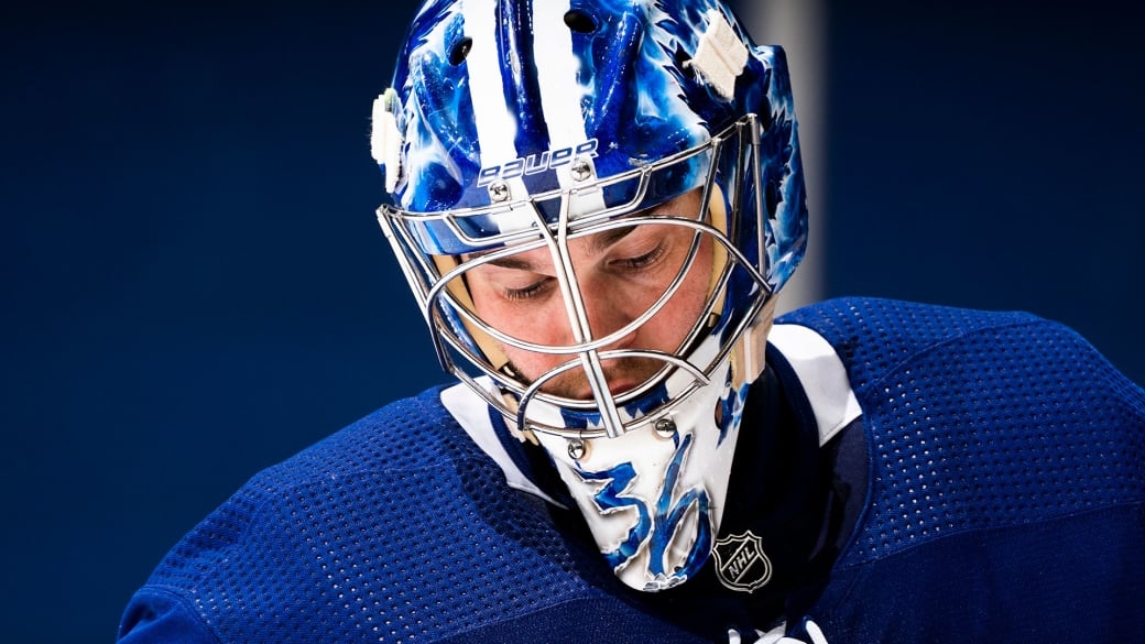 Jack Campbell #36 of the Toronto Maple Leafs looks on against the Montreal Canadiens during the second period at the Scotiabank Arena on May 6, 2021 in Toronto, Ontario, Canada.