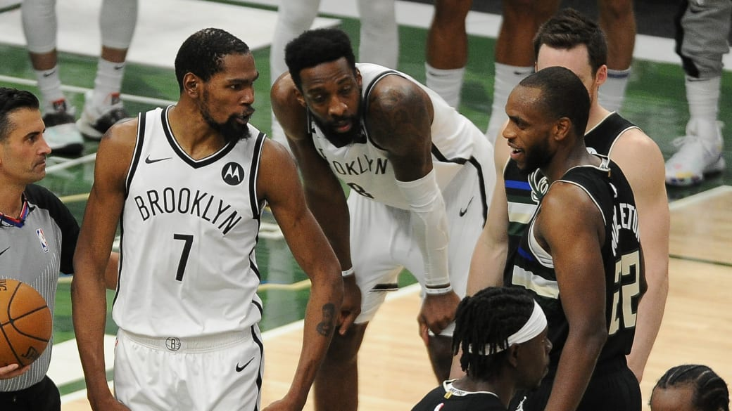 Kevin Durant Khris Middleton Game 6 2020 Nets Bucks
