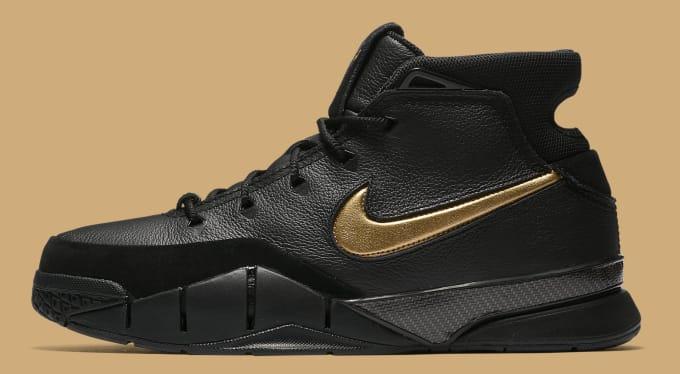 797e83f6e31 Nike Kobe 1 Protro  Black Black White Metallic Gold  AQ2728-