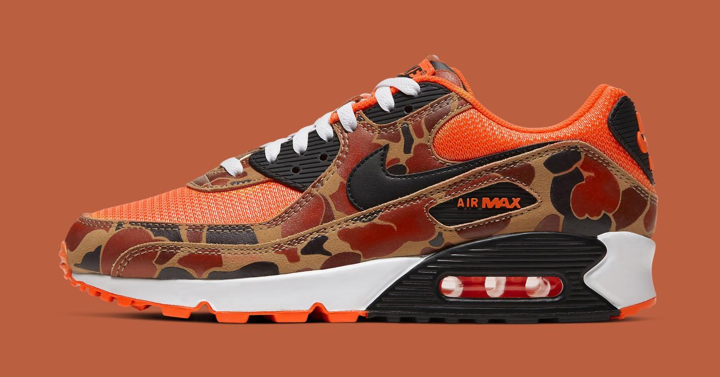 Nike Air Max 90 'Orange Camo' CW4039-800 Lateral