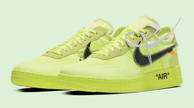 4d3bcec7c3bf Off-White x Nike Air Force 1 Volt Release Date AO4606-700 Pair
