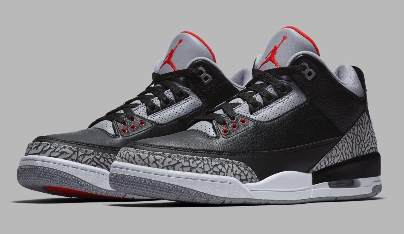 Air Jordan 3 Black/Cement Grey White Fire Red 854262 001 (Pair)