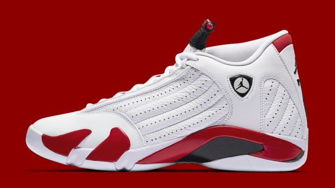 9e4a38132d4 Air Jordan 14 Retro  Candy Cane 2019  487471-100 Lateral. Image via Nike