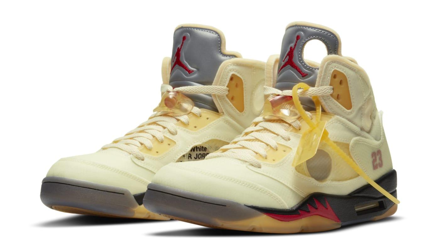 Off White x Air Jordan 5 'Sail/Fire Red/Muslin/Black' (Pair)