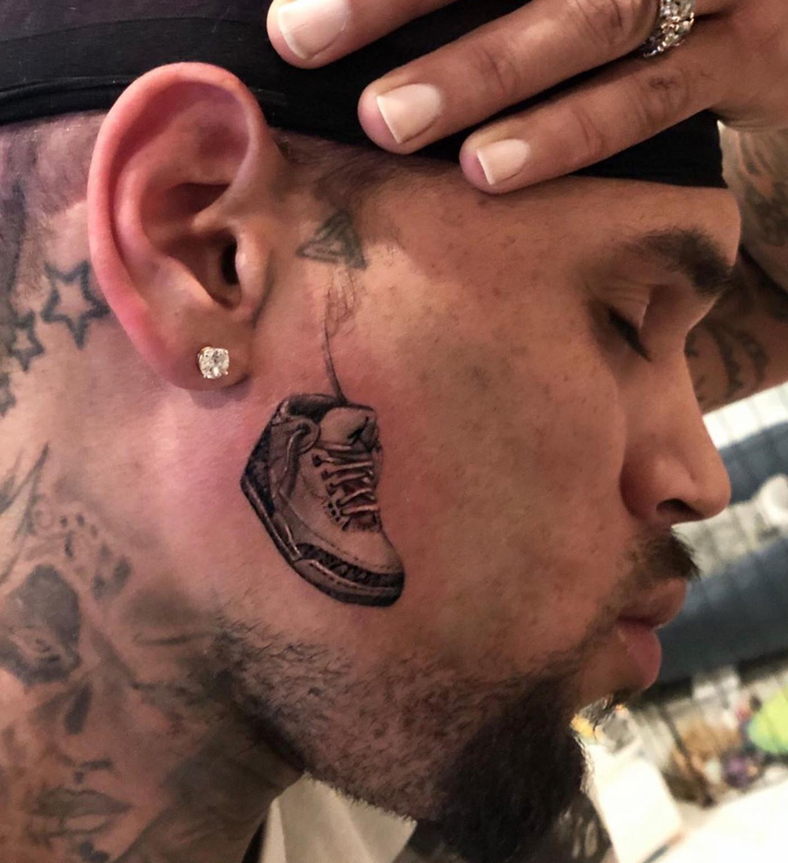 Chris Brown Air Jordan 3 Tattoo