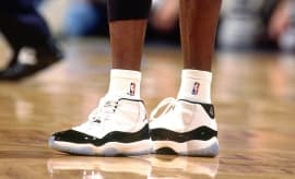 Michael Jordan Wearing the Air Jordan XI  Concord  · Sneakers b0465703f2