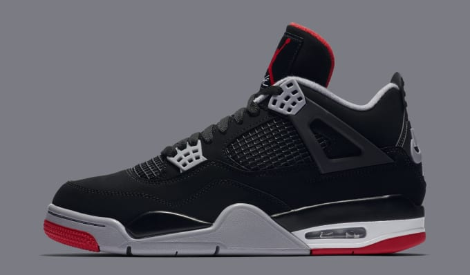 26888a959243b5 Air Jordan 4  Bred  308497-060 (Lateral). Image via Nike
