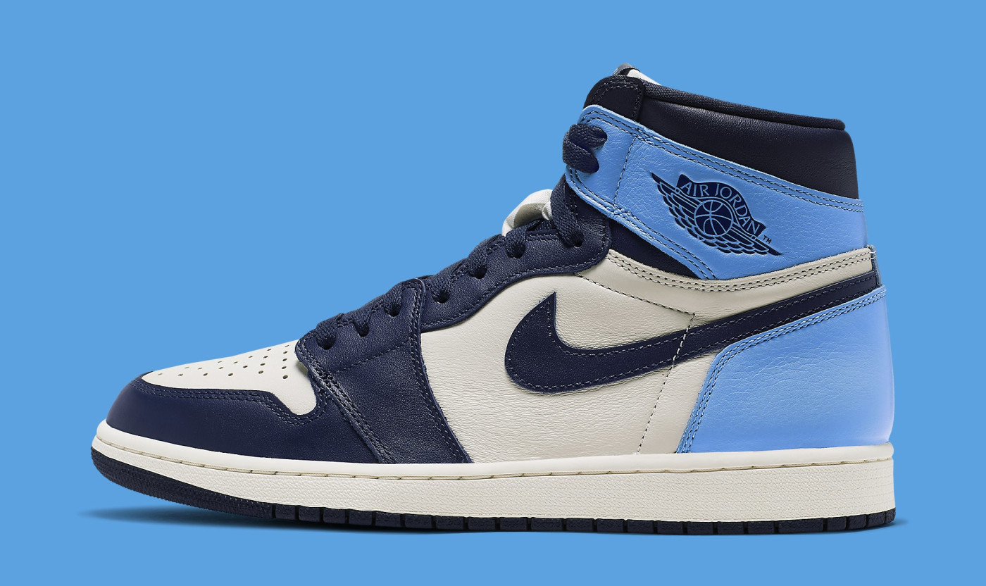 Air Jordan 1 'Sail/Obsidian-University Blue' 555088-140 (Lateral)