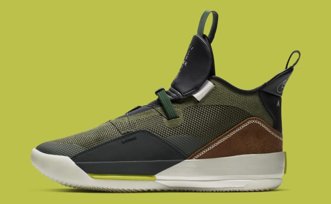 7ae47a2f5a7e Travis Scott x Air Jordan 33 NRG  Army Olive Black-Ale Brown-. Image via  Nike