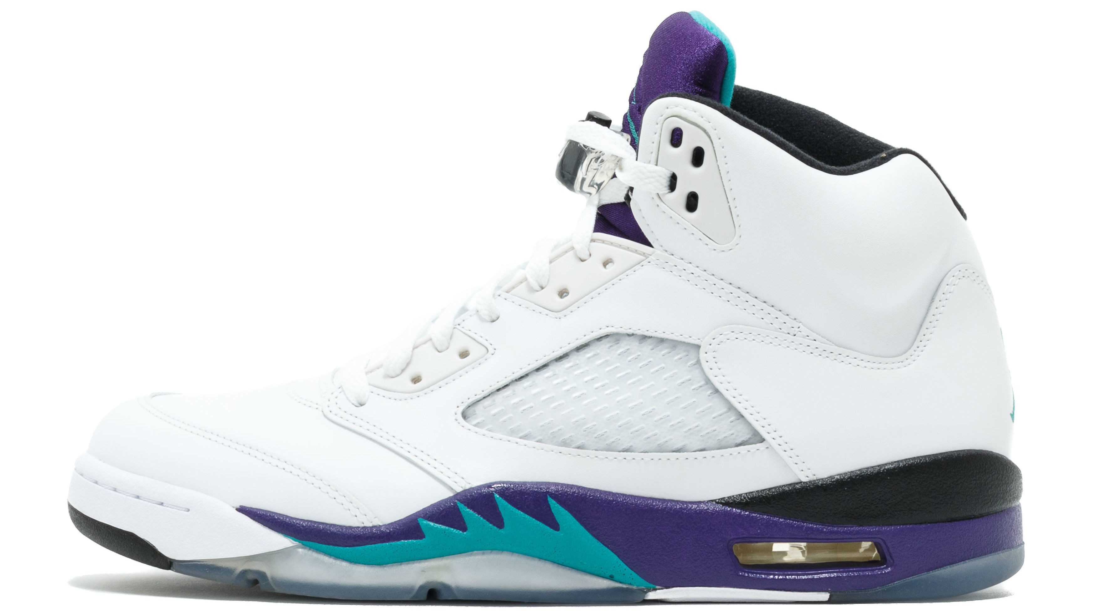 e2802db36386ee The 2018 release date for the Air Jordan V 5 Retro NRG sneakers in   White Grape Ice Black New Emerald. .