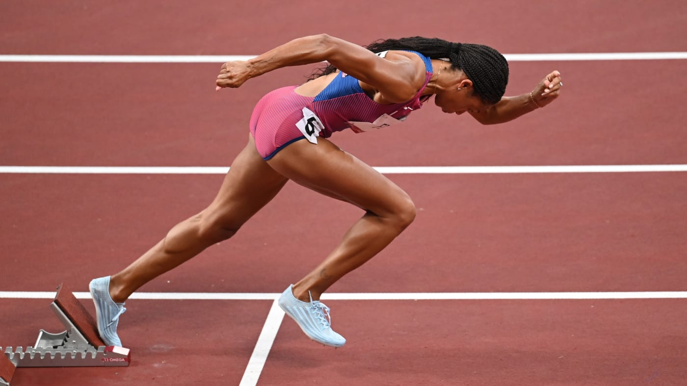 Allyson Felix Running in the Tokyo 2020 Olympics