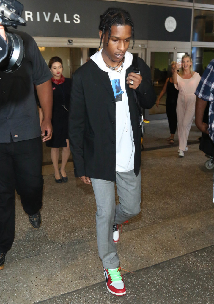 """64ff626185a ASAP Rocky wearing """"Chicago"""" Off-White x Air Jordan 1s designed by Virgil"""