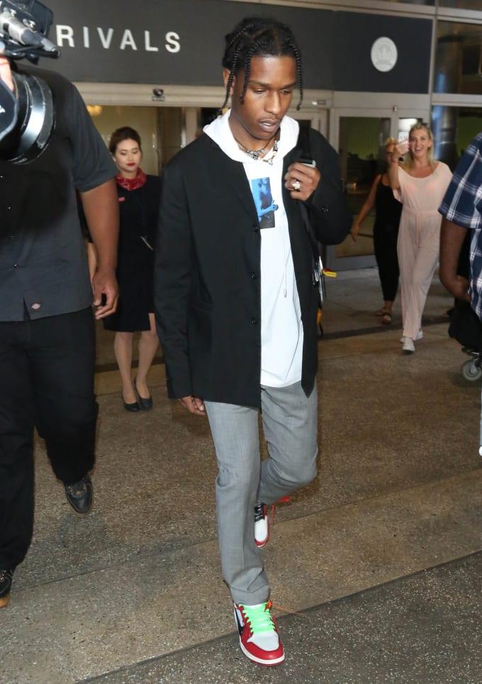 "093ff65f56cb ASAP Rocky wearing ""Chicago"" Off-White x Air Jordan 1s designed by Virgil"