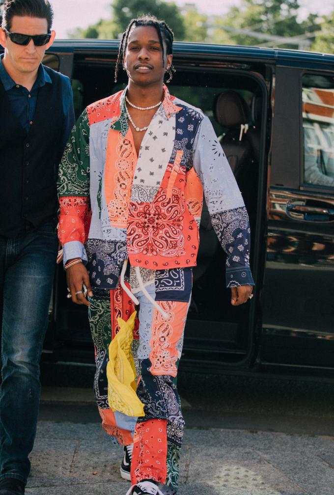 f740ca3ffcc107 ASAP Rocky wearing Loewe bandana outfit to Paris Fashion Week  Men s  Spring Summer 2019