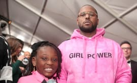 Rapper Schoolboy Q and daughter Joy Hanley attend The 59th GRAMMY Awards