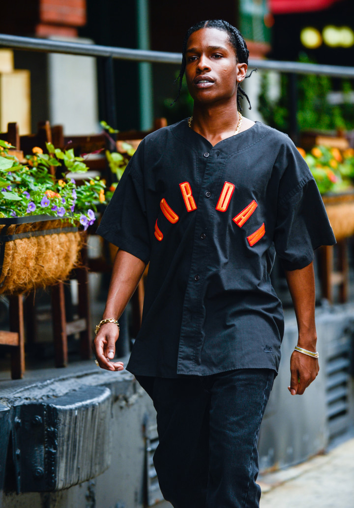 4930a2784 ASAP Rocky wearing vintage Jordan shirt outside of Tribeca Hotel 2017.