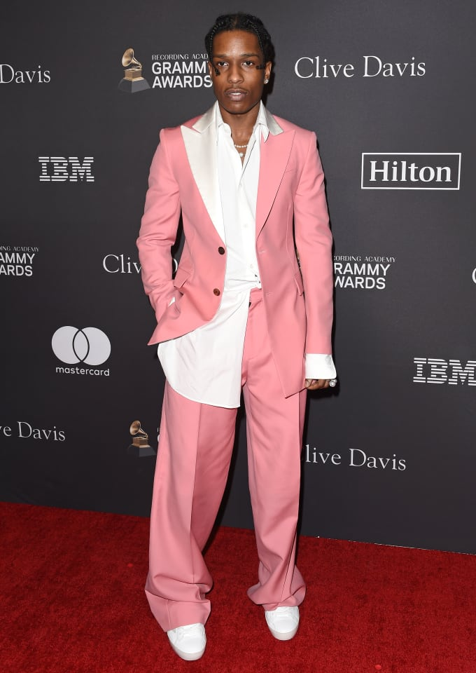 ASAP Rocky wearing pink Loewe suit at Pre-Grammy Gala 2019.