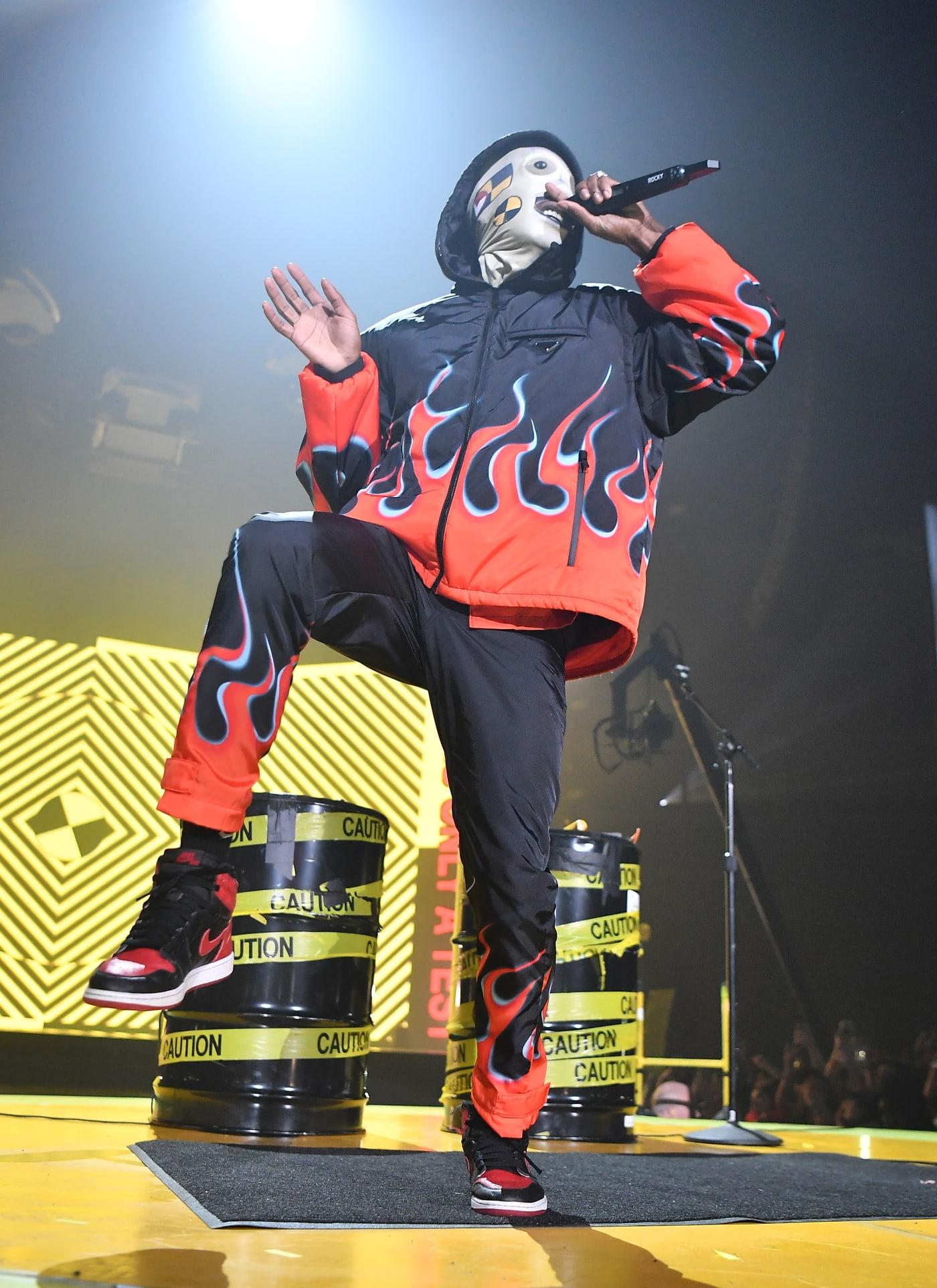 ASAP Rocky wearing Prada flames set at 'Injured Generation' Tour 2019.