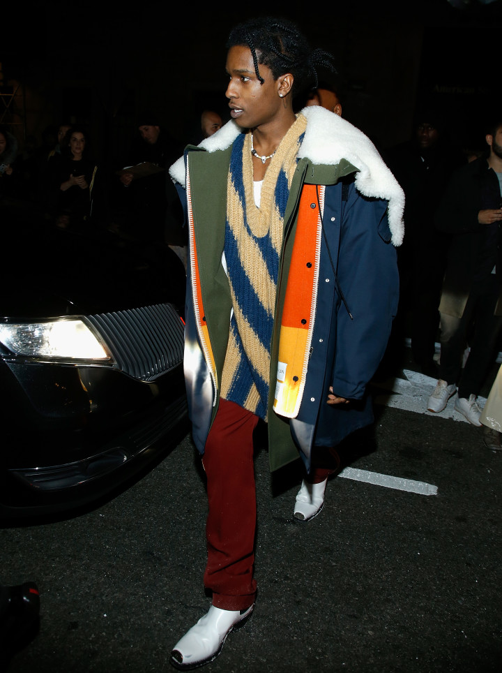 c6e95778d ASAP Rocky wearing Raf Simons for Calvin Klein at New York Fashion Week  2018.