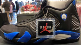 aee74df2e8c6 Supreme x Air Jordan 14 Black Blue Release Date