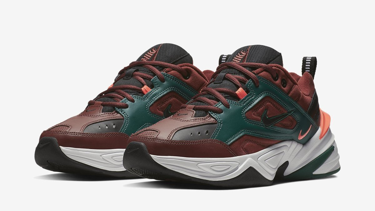 0b928d640b9 The Nike M2K Tekno has been revealed in a new 'Pueblo Brown' colorway. The  pair features a brown leather upper, green overlay, and mango detailing.